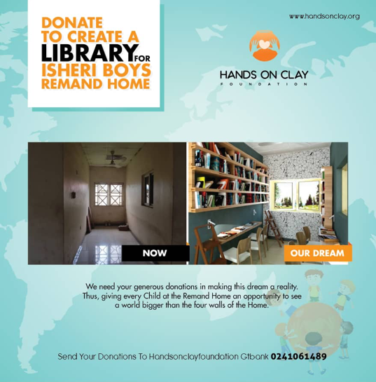 Photo of Hands on clay foundation; raising N1million for Library donation